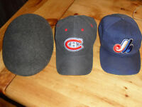 3 MEN HATS wool newsboy puma habs canadians mtl expos all excell