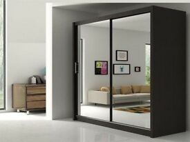 GET YOUR ORDER TODAY- BRAND NEW BERLIN FULL MIRROR 2 DOOR SLIDING WARDROBE WITH SHELVES AND RAILS