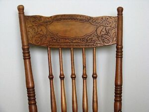 Four Antique Early Quebec Oak Press Back Chairs, 1900's
