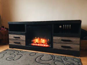 TV STAND WITH FIREPLACE ATTACHED
