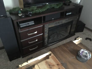 Electric fireplace entertainment stand