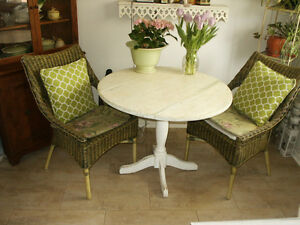 Solid Wood Drop Leaf Table and Wicker Chairs Set
