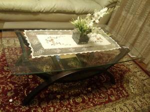 Living room glass table set