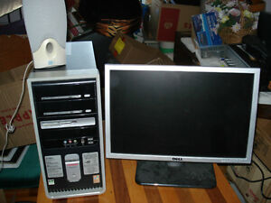 Computer,   Flat Screen,   Key Board,   Mouse,  & Speakers, Word