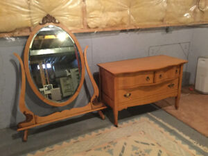 Antique Dresser with oval mirror