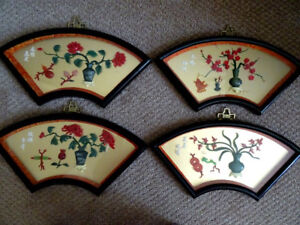 REPUBLIC of CHINA vintage wall art set FOUR SEASONS faux? jade