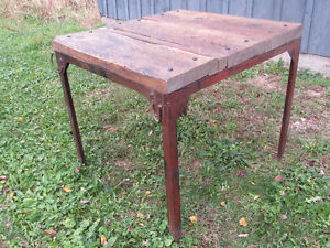 Iron and Weathered Wood Handmade Industrial Square Table