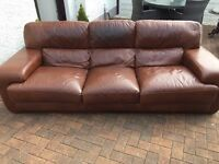 Stunning. Tan. Leather sofa