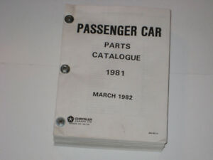 1981 Factory Chrysler Plymouth Dodge Imperial Parts Catalogue