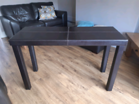 Brown Leather Console Table
