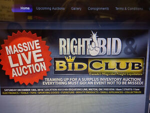 RIGHT BID AUCTIONS SATURDAY DEC. 10th 11AM MILTON, ON