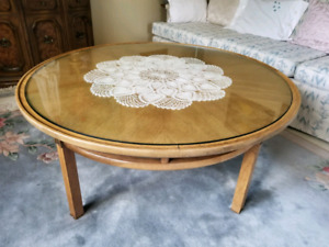 Round Wooden Glass Top Coffee Table