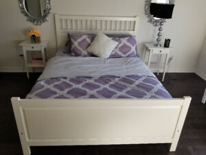 Ikea queen bed end tables and mirrors for sale $300 for all