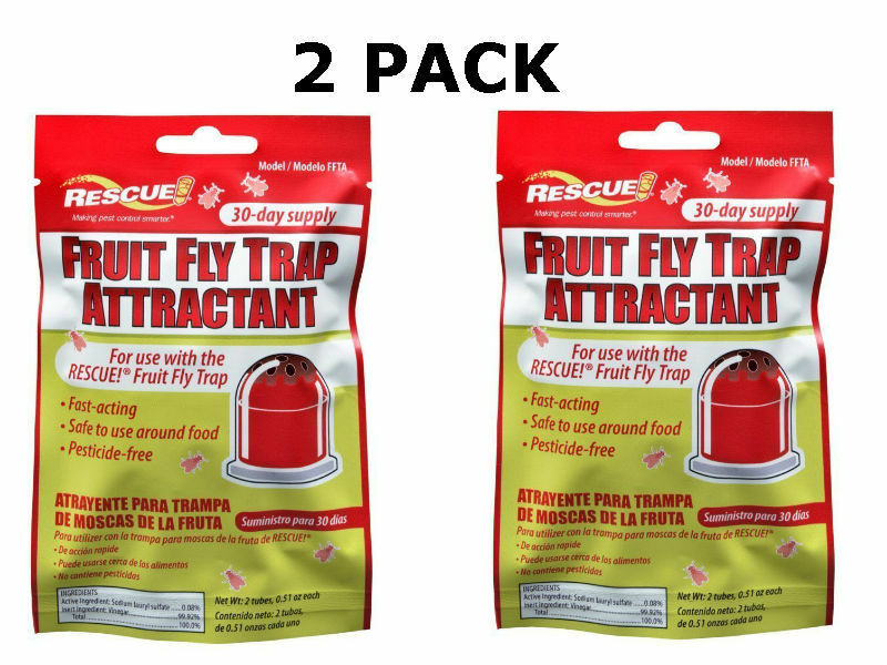 *2 PACK* RESCUE! FFTA Non-Toxic Fruit Fly Trap Attractant Refill, 30 Days