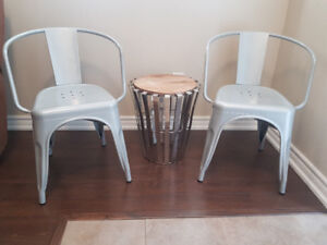 2 Grey Industrial Style Dining Chairs.  $100.00