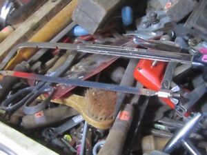 OLD ESTATE TOOLS HACK SAWS HAMMERS WRENCHES FILES +++ CARPENTRY