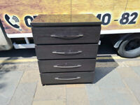Black wood chest of drawers with chrome handles £70