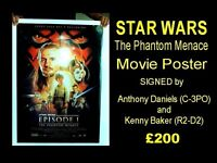 Autographed STAR WARS Episode One Promotional Poster