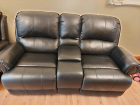 2 seater sofa black pure leather double recliner