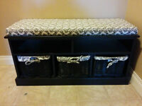 Black Entryway Bench with 3 Matching Baskets