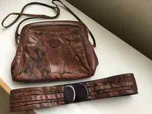 Bel Ensemble sac à main et ceinture, haut de gamme, 100% cuir
