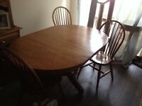 Oak Dining Table & 3 Chairs