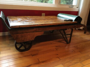 Antique grain scale coffee table, with weights, great shape!