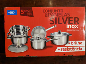 Shiney new 5-piece  stainless steel cookware set (never opened)