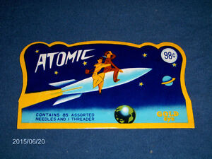 ATOMIC GOLD EYE NEEDLE BOOKLET-1950/60S-ART DECO-SEWING