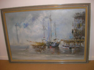 Original Nautical with Lighthouse Oil Painting signed