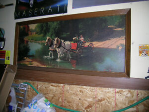large 28x64 framed picture horse and wagon crossing stream Kitchener / Waterloo Kitchener Area image 1