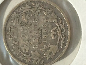 1888 25 cents Canada coin