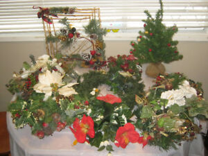 Lots of Christmas artificial flowers and arrangements - $15