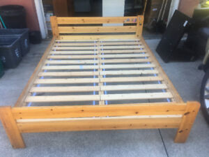 Solid Wood Queen Bed Frame & Solid Wood Slats