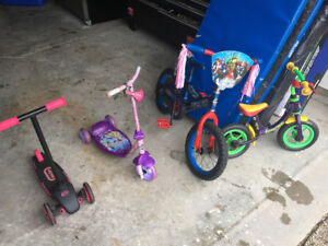 Kids bikes and scooters