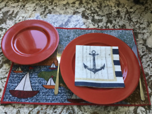 Set of 8 -Pier 1 Imports red dinner and luncheon plates