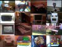MOVING SALE!!! Stove, Patio table, Bird feeder bath, TV,  Table,