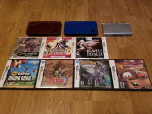 2 DS XL's One Blue And One Burgundy With A Silver Ds Lite+Games