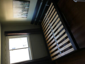 Ikea slat bed and headboard queen size.