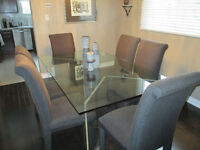 Glass Dining Room Rectangular Table & 6 Parsons Chairs