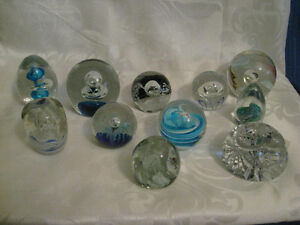 11 Vintage Studio Glass Paperweights some Signed