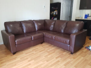 Brown 100% Genuine leather Sectional Sofa