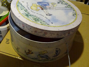 Large lidded round box,   POOH  BEAR   decor, handle.14""