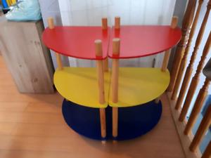 Tri-coloured bookshelf (red, yellow, blue)