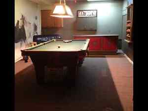 Pool Table and all accessories plus overhead lamp and cue rack