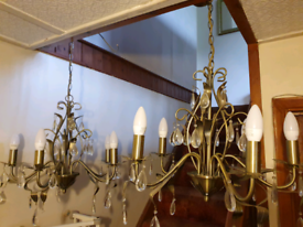 Matching pair of beautiful metal 5-bulb chandelier light fittings