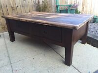 Huge chunky solid wood coffee table with large storage drawera