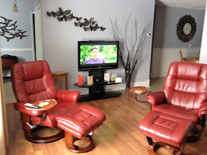 LEATHER SWIVEL RECLINERS- $800 for PAIR!