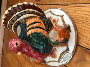 Fitz and Floyd Omnibus  1996 pattern Thanksgiving  Candle holder