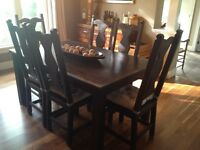 Rustic solid wood dining set table + 6 chairs